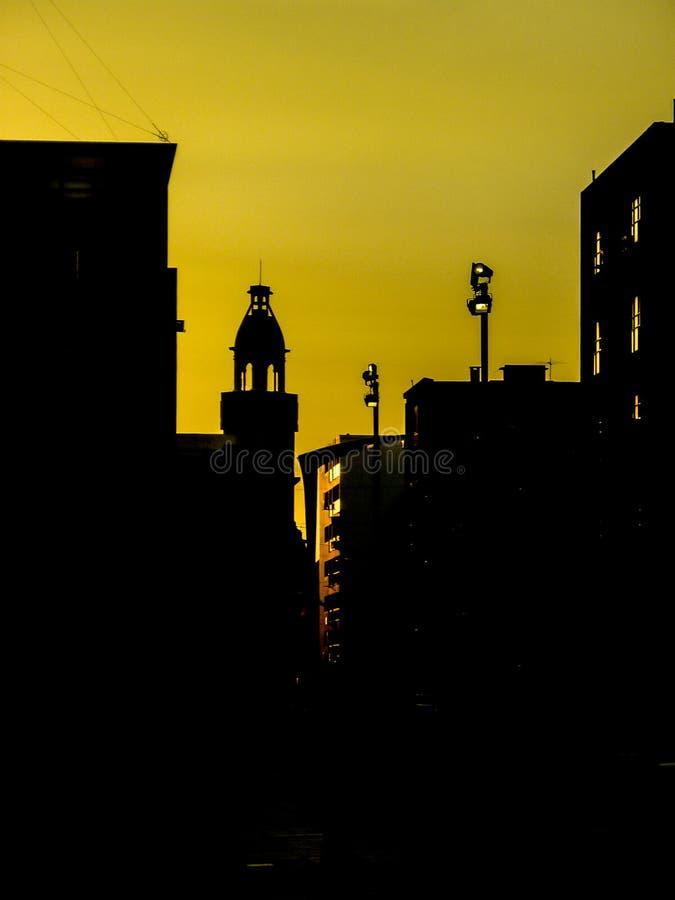 Urban Silhouette Sunset Scene royalty free stock photography