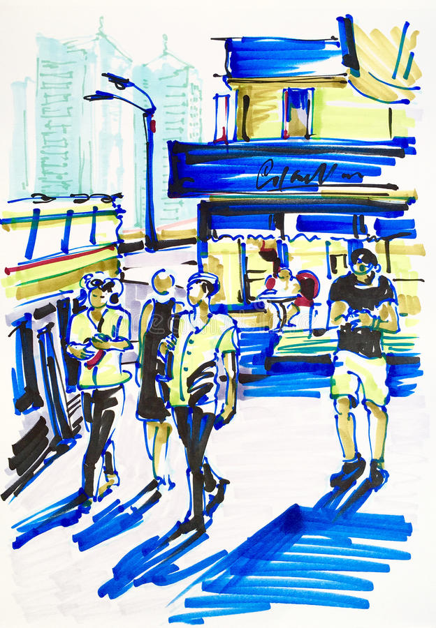 Urban sketch markers drawing on paper of street city vector illustration