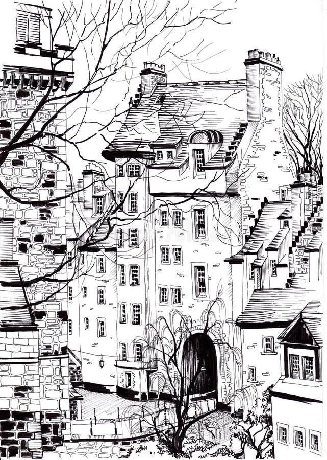 Free Urban Sketching. European Architecture. Stock Image - 139730181