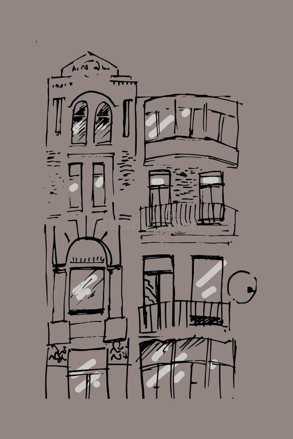 Urban sketching. Hand drawn illustration for your design. Old building. City landscape royalty free illustration