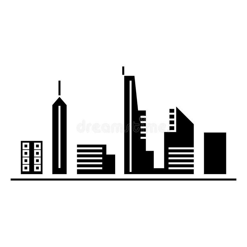 Urban skyblack black icon concept. Urban skyblack vector sign, symbol, illustration. royalty free illustration