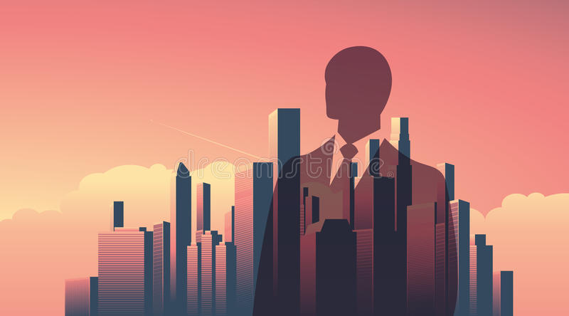 Urban skyline cityscape with businessman standing over. Double exposure vector illustration landscape background. Horizontal landscape orientation. Eps10 vector illustration