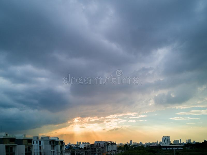 Urban skyline with cloudy sky. Urban skyline in the morning with cloudy sky before rain stock photography