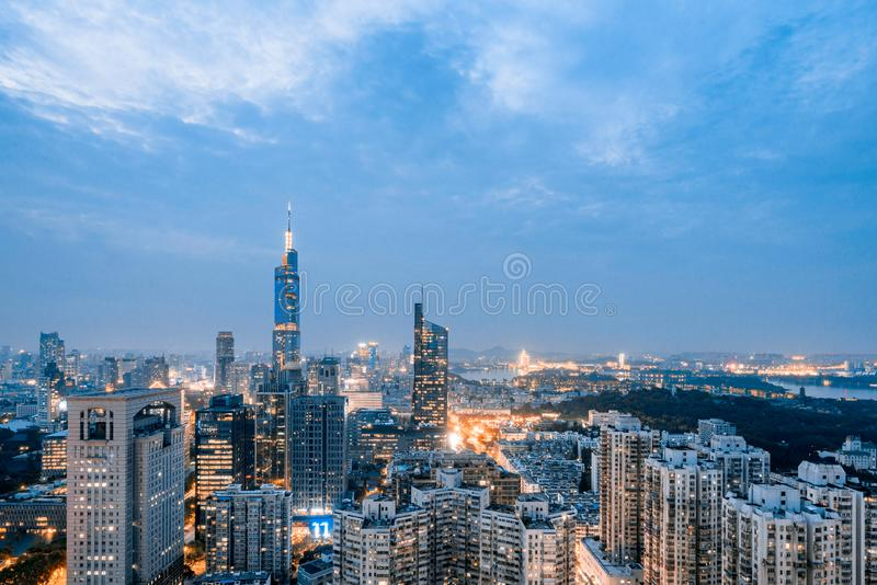 Urban Skyline Complex of Zifeng Building and Xuanwu Lake, Nanjing, China royalty free stock photo