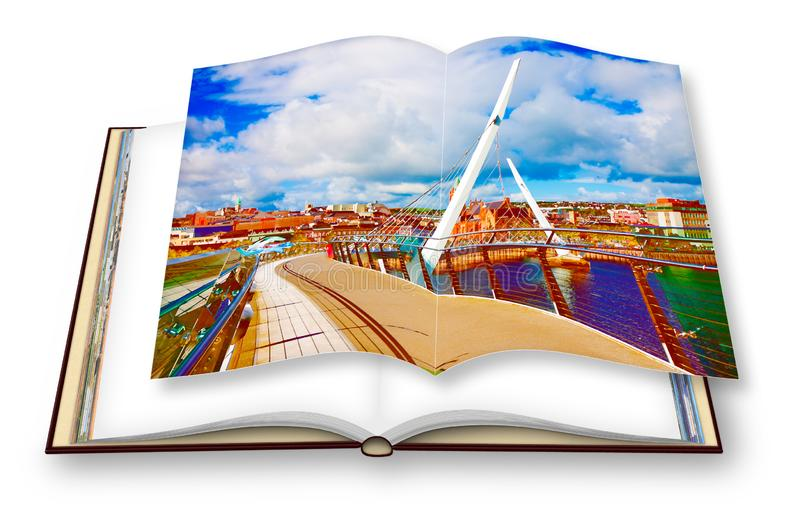 Urban skyline of Derry city also called Londonderry with the. `Peace Bridge` Europe - Northern Ireland - 3D render concept image of an opened photo book - I`m royalty free stock images