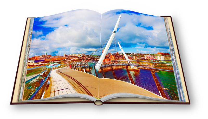 Urban skyline of Derry city also called Londonderry with the. `Peace Bridge` Europe - Northern Ireland - 3D render concept image of an opened photo book - I`m stock photo