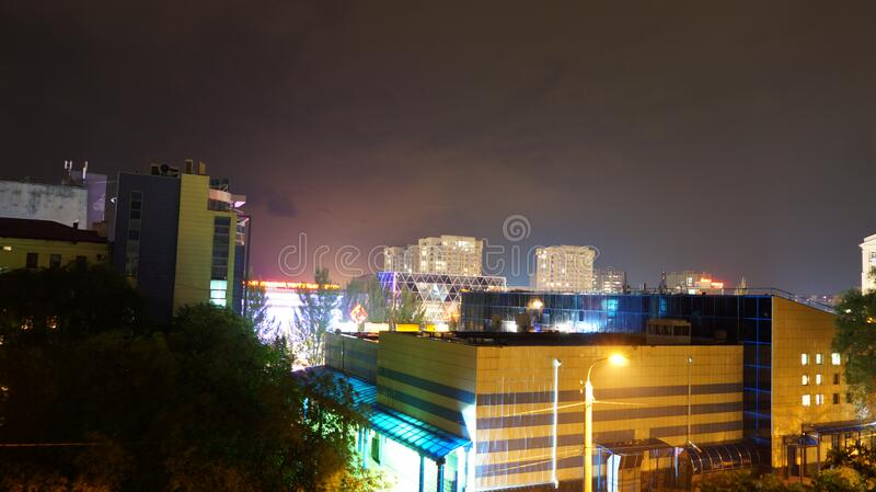 Urban skyline at night royalty free stock image