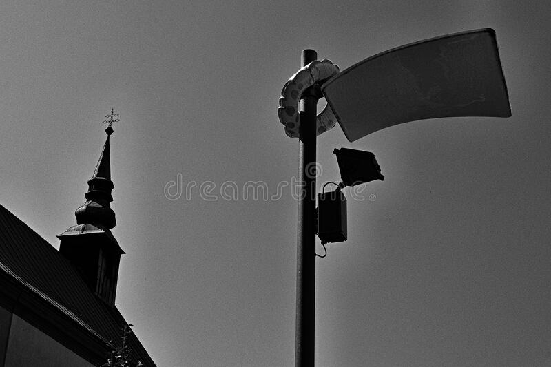 Urban skyline with pole and spire stock image