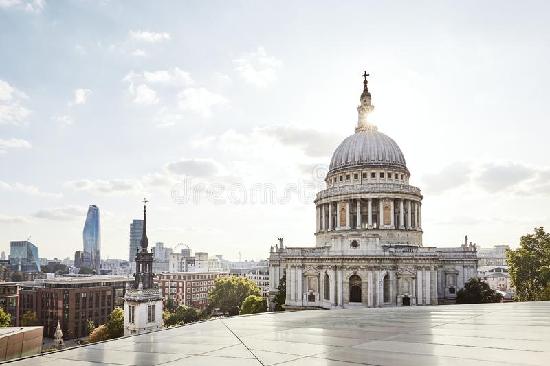 Urban skyline of London. Urban skyline with St. Paul Cathedral at sunset. London, United Kingdom stock photography