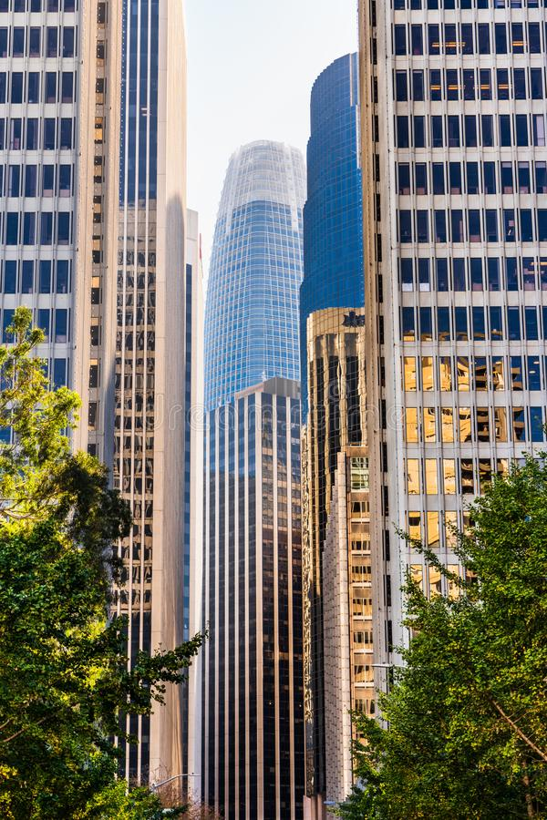 Urban skyline with tall residential and office buildings in South of Market district, San Francisco, California royalty free stock photography