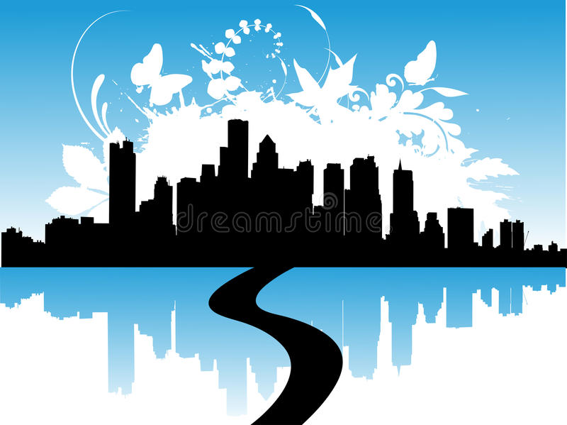 Download Urban Skylines With Reflection Stock Vector - Illustration: 11116484