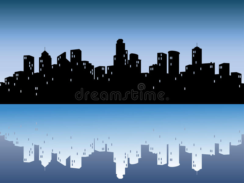 Download Urban Skylines With Reflection Stock Vector - Illustration of background, outline: 9947207