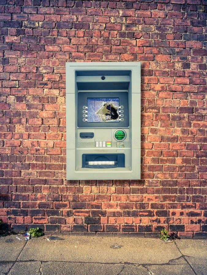 Urban Smashed ATM royalty free stock photo