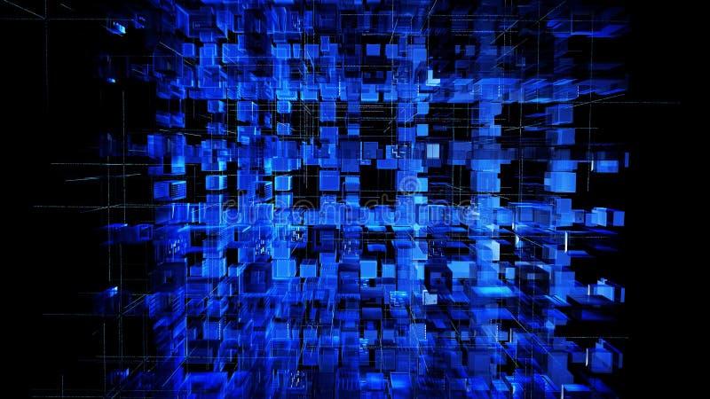 Urban som digitala 3D pressar ut, kvadrerar abstrakt blå illustrationbakgrund Digital abstrakt teknologiströmkrets för illustrati royaltyfri illustrationer
