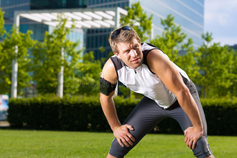 Urban sports - fitness in the city. On a beautiful summer day royalty free stock images
