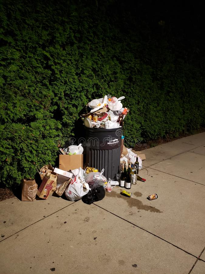 Urban still-life. Garbage, night, park, trash royalty free stock photos