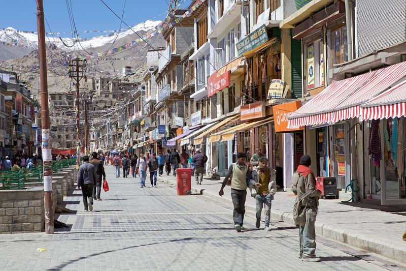 Urban street in Leh, India. Leh was the capital of the Himalayan kingdom of Ladakh, now Leh District, in the north indian state of Jammu and Kashmir royalty free stock photo