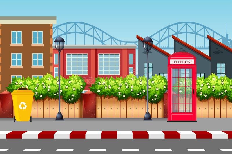 Urban street scene background vector illustration