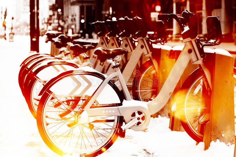 Urban street scene. With bikes royalty free stock image