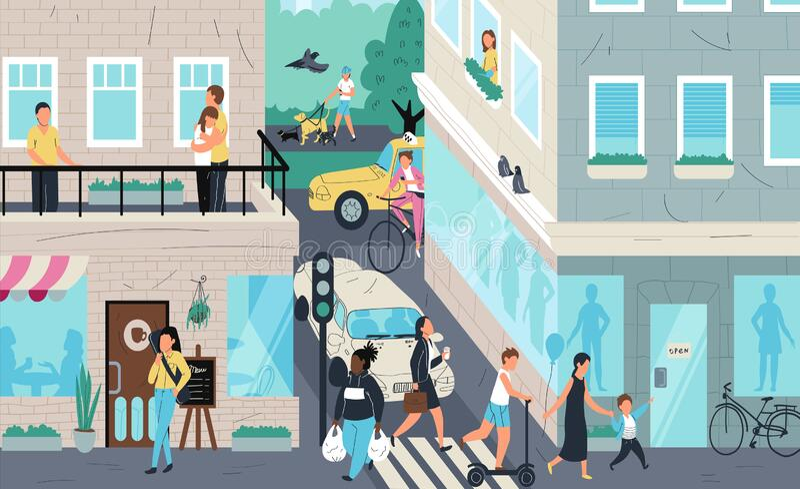 Urban street scene, people living in city, vector illustration vector illustration