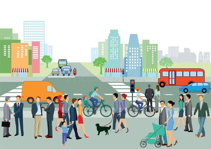 Urban street scene vector illustration