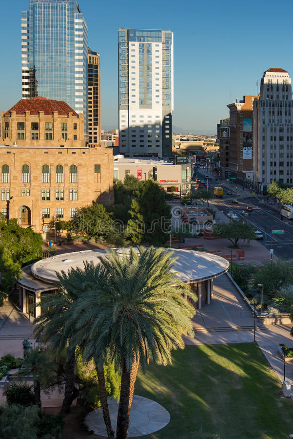 Urban streetscapes and buildings in downtown Phoenix, AZ. Urban streetscapes and buildings in downtown Phoenix, Arizona stock image