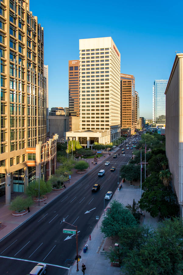 Urban streetscapes and buildings in downtown Phoenix, AZ. Urban streetscapes and buildings in downtown Phoenix, Arizona stock photography