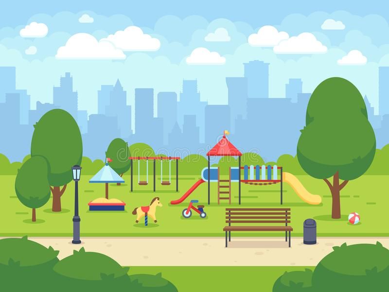 Urban summer public garden with kids playground. Cartoon vector city park with cityscape royalty free illustration