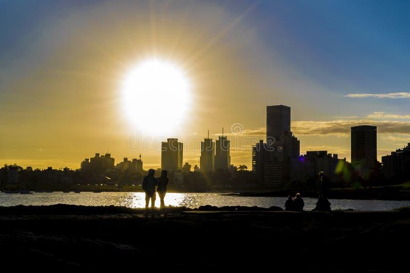 Urban Sunset Scene, Montevideo, Uruguay stock photo