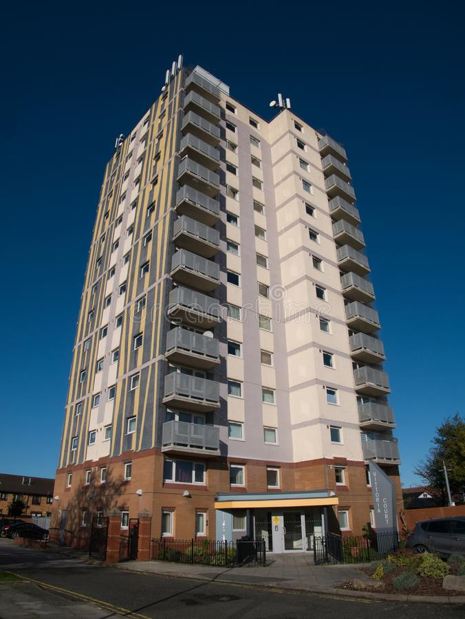An urban tower block of social housing in Birkenhead in the UK royalty free stock photos