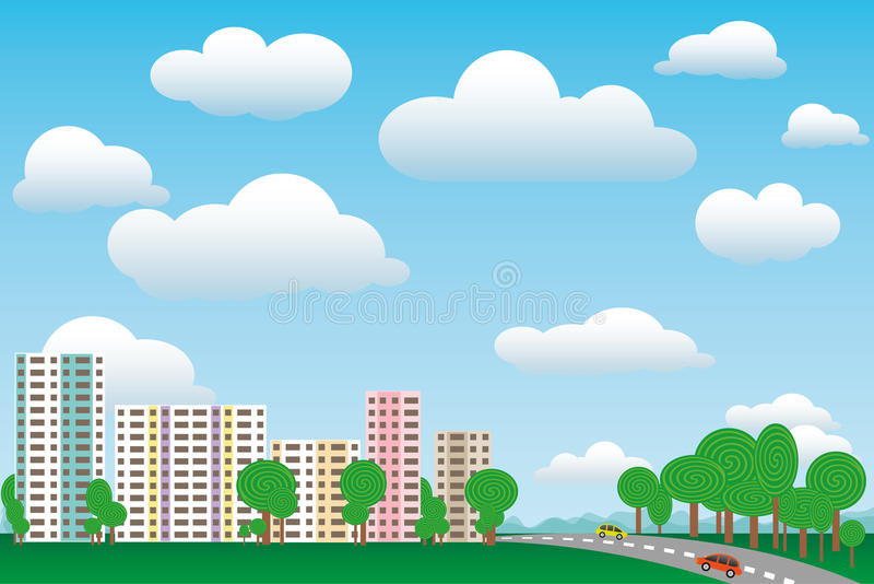 Urban town in nature on a sunny day. Urban and rural landscape in nature on a summer sunny day vector illustration