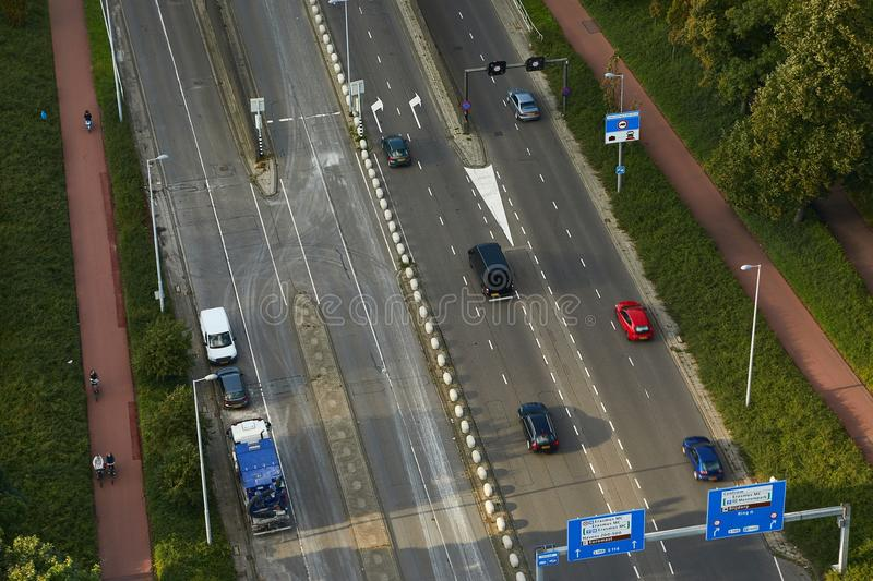 Urban traffic from above. Road viewed from above with urban traffic royalty free stock image