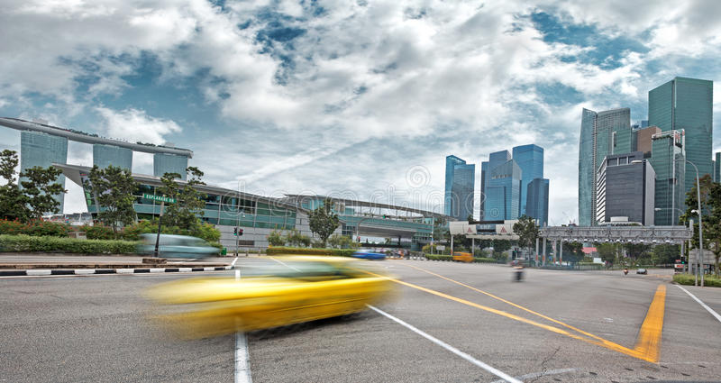 Urban traffic. Moving car on the boulevard of Singapore royalty free stock photos