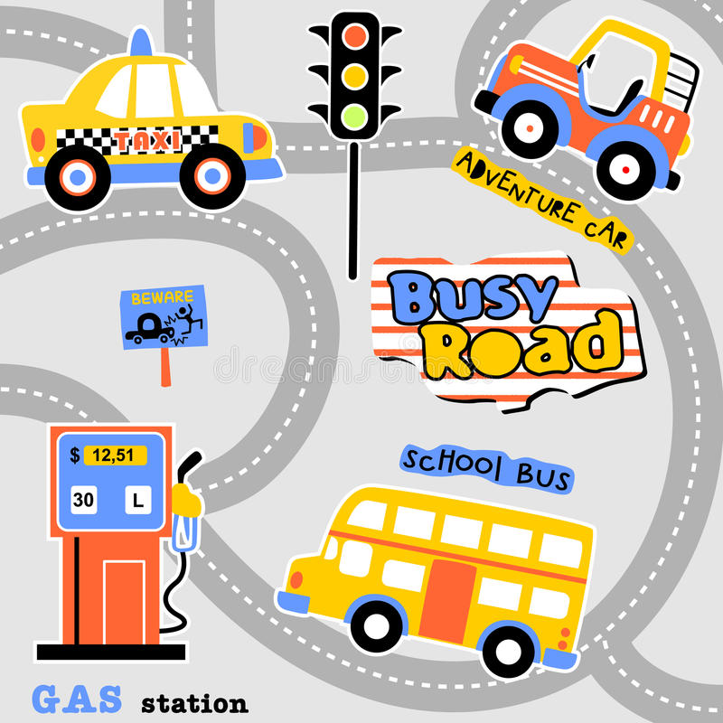Busy road vector illustration
