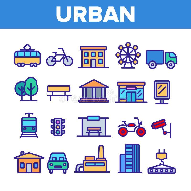 Urban tunn linje symbolsupps?ttning f?r stadsliv vektor illustrationer