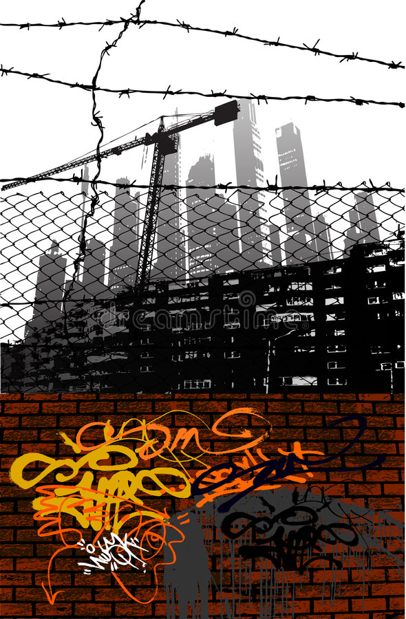 Urban vector. Urban grungy illustration,with graffiti wall in front symbol of underground life and skyscrapers in the background symbol of high-life stock illustration