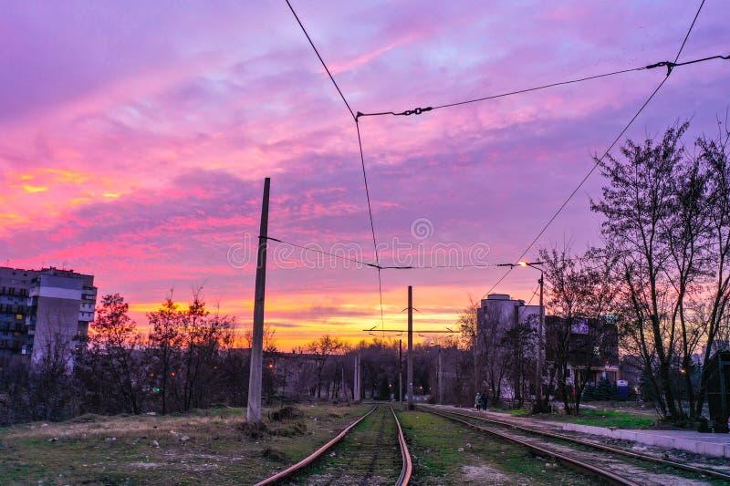 Urban vectors and beautiful sunset. stock photography