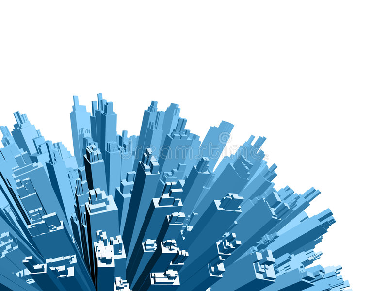 Urban view. 3d rendered buildings on white background vector illustration