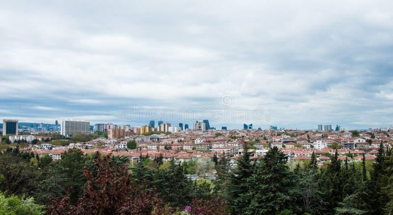 View of Ankara from the Ataturk memorial. Urban view of Ankara from the Ataturk memorial. Background of dramatic skies stock image