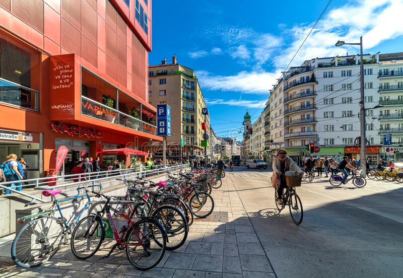 Urban view in city center of Vienna, Austria. stock image