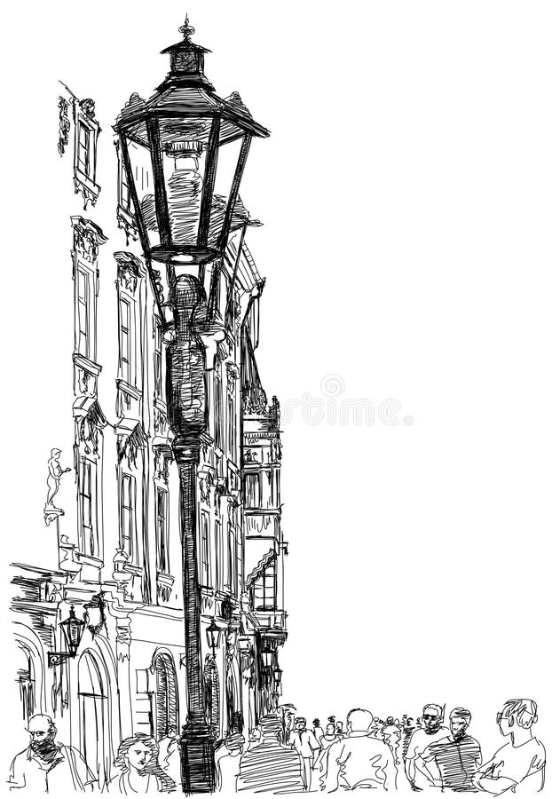 Urban view - Prague, Czech Republic stock illustration