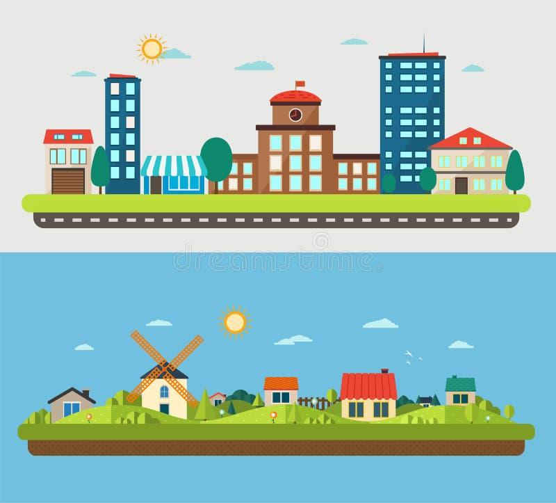 Urban and village landscapes on blue and light background stock illustration