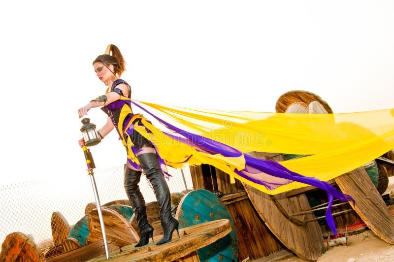 Urban Warrior. Fashion and fantasy urban warrior woman royalty free stock photo