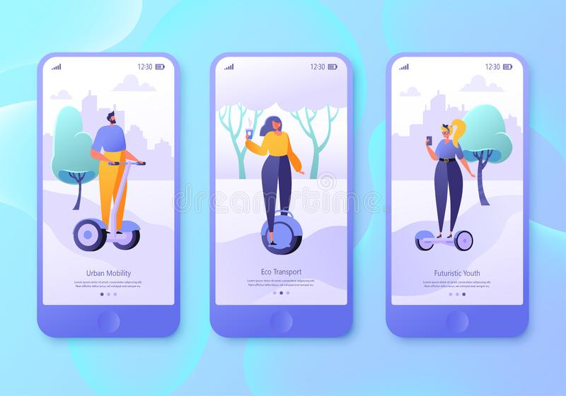 Urban weekend mobile app page, screen set. Flat design characters of men and women with hover boards. vector illustration