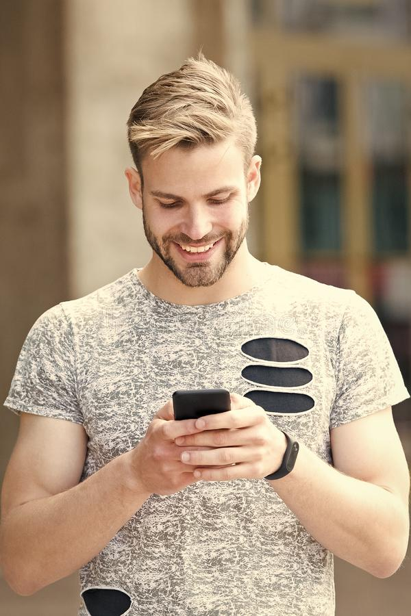 Urban wifi coverage. Modern smartphone application. Easy communication. Send email. Responding message. Download royalty free stock photos
