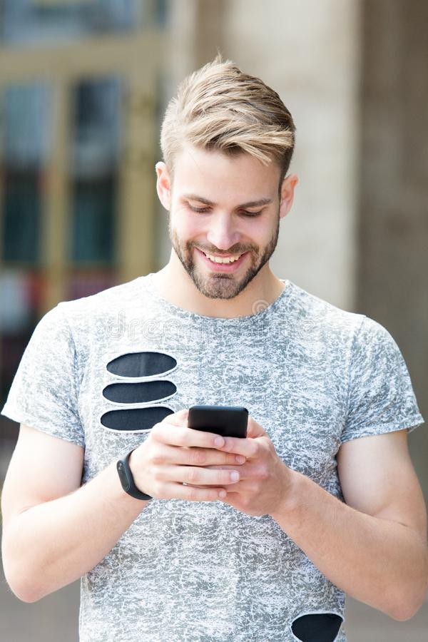 Urban wifi coverage. Modern smartphone application. Easy communication. Send email. Responding message. Download stock image
