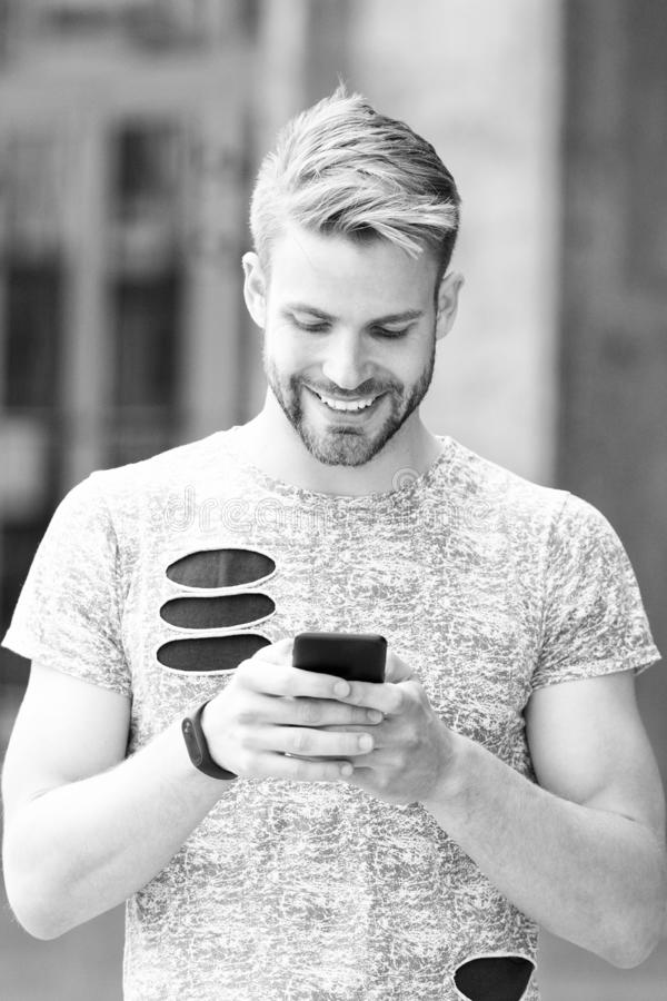 Urban wifi coverage. Modern smartphone application. Easy communication. Send email. Responding message. Download royalty free stock photography