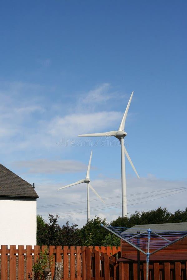 Urban wind farm royalty free stock photography