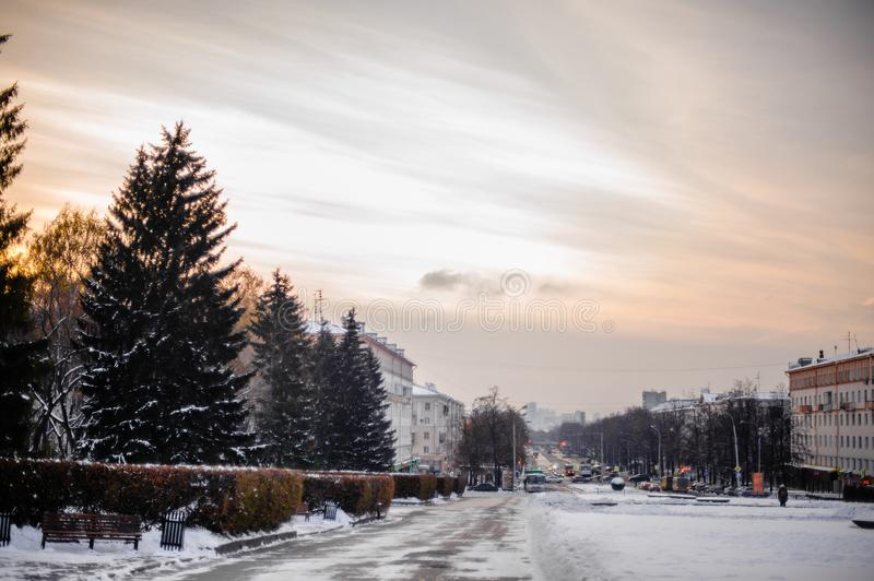 Urban winter landscape. Evening city in the snow. stock images