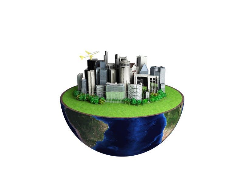 Urbanisatieconcept met bol en stad op abstracte witte backg vector illustratie